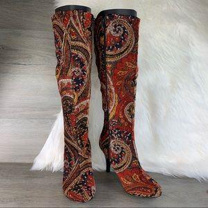 Diba Paisley Fabric Boots Size 7.5 M